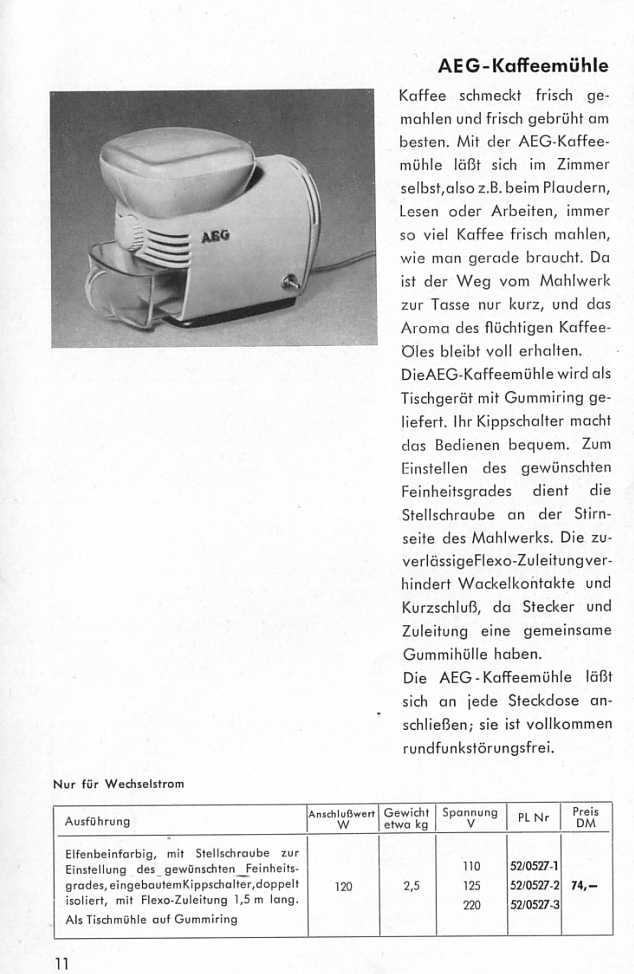 aeg haushaltsger te katolog 1953. Black Bedroom Furniture Sets. Home Design Ideas