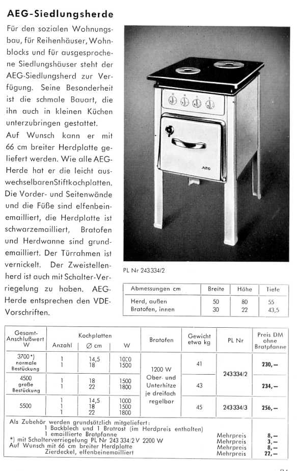 aeg katalog von 1953 haushaltsger te teil 2. Black Bedroom Furniture Sets. Home Design Ideas