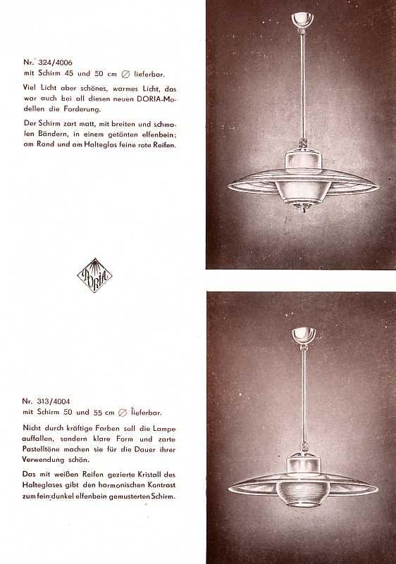doria leuchten aus f rth prospekt um 1950. Black Bedroom Furniture Sets. Home Design Ideas