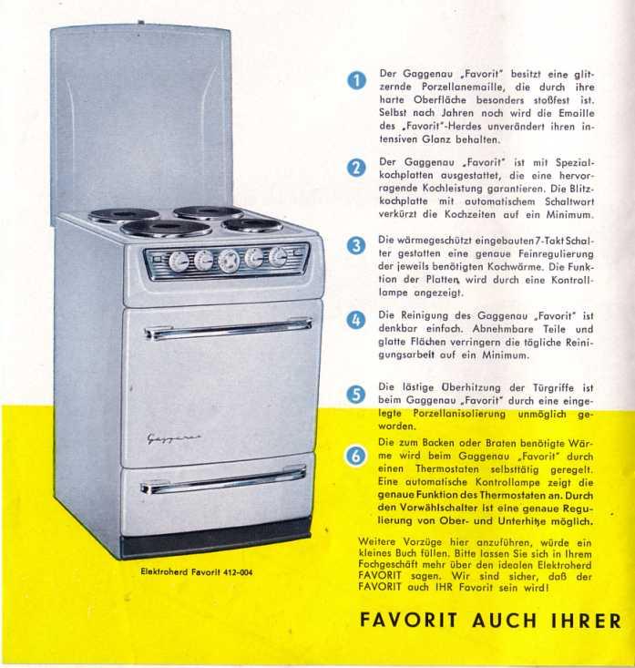 Gaggenau-Favorit Elektroherd 50er Jahre Eisenwerke Gaggenau www ...
