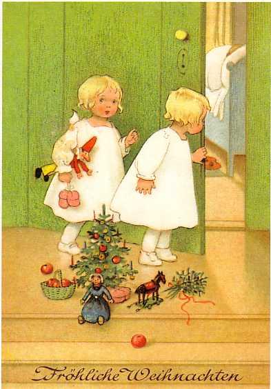 Nostalgische Weihnachtsmotive.Odenwälder Gäulchen Apfelschimmel Unterm Weihnachtsbaum