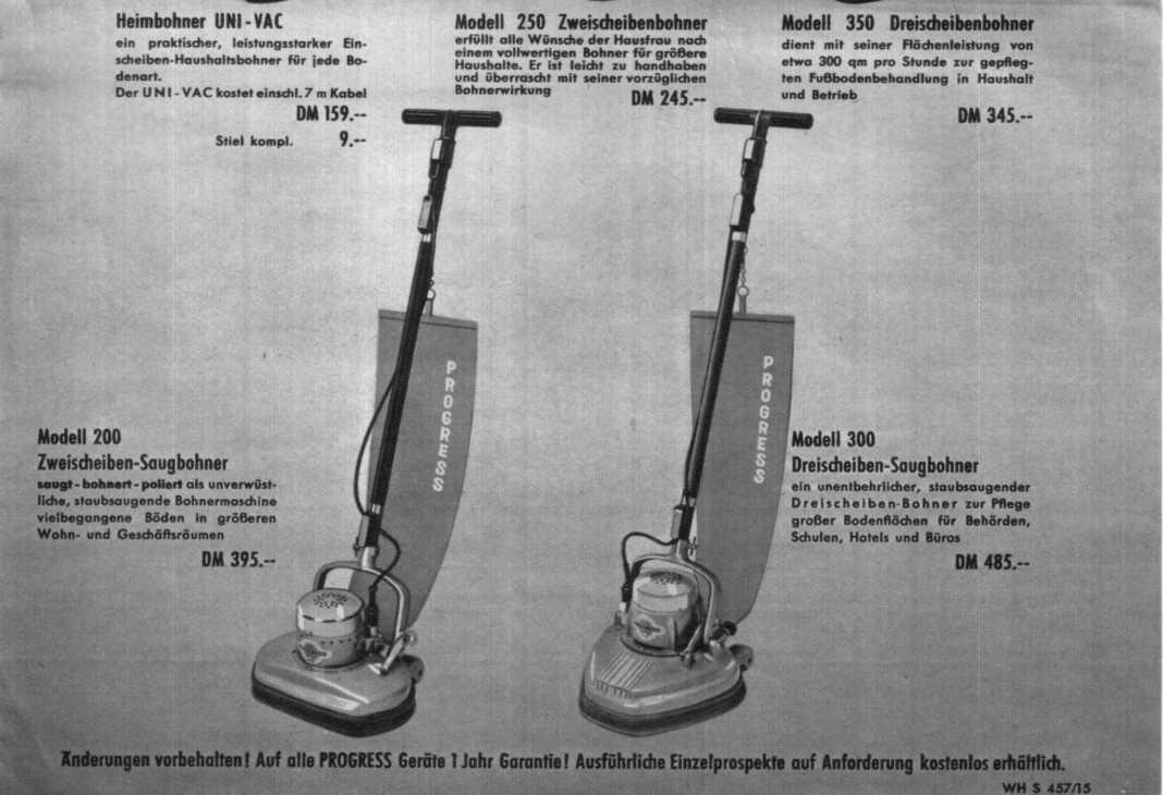 progress staubsauger und bohnergeräte prospekt 1957 www  ~ Staubsauger Progress Stuttgart